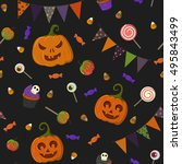 halloween seamless pattern with ... | Shutterstock .eps vector #495843499