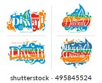 set of happy diwali text design ... | Shutterstock .eps vector #495845524