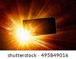 3d illustration of smartphone... | Shutterstock . vector #495849016