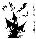 halloween scary haunted house... | Shutterstock .eps vector #495849298