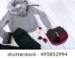 overhead view of woman's casual ... | Shutterstock . vector #495852994