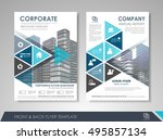 front and back page annual... | Shutterstock .eps vector #495857134