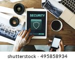 data protection shield secured... | Shutterstock . vector #495858934