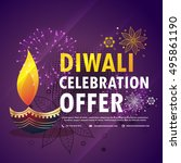diwali celebration offer with... | Shutterstock .eps vector #495861190