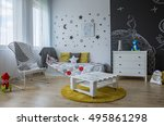 spacious child room in... | Shutterstock . vector #495861298