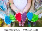 hands   palms of young people... | Shutterstock . vector #495861868