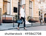 fashion blonde woman on heels... | Shutterstock . vector #495862708