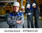 portrait of a man in overalls... | Shutterstock . vector #495864130