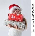 eight year girl in the santa... | Shutterstock . vector #495865018