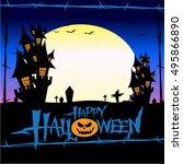 halloween castle in the... | Shutterstock .eps vector #495866890