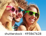 friendship happiness summer... | Shutterstock . vector #495867628