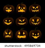 set of jack o lanterns  faces... | Shutterstock .eps vector #495869734