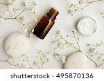 bottle of essential oil  body... | Shutterstock . vector #495870136