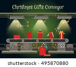 christmas gift wrapping machine ... | Shutterstock .eps vector #495870880