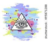 all seeing eye symbol. occult ... | Shutterstock .eps vector #495871288