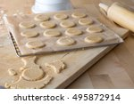 cookies on a baking tray | Shutterstock . vector #495872914