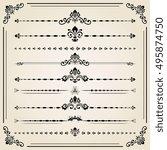 vintage set of decorative... | Shutterstock . vector #495874750
