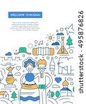 welcome to russia   line design ... | Shutterstock . vector #495876826