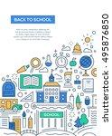 back to school   line design...   Shutterstock . vector #495876850
