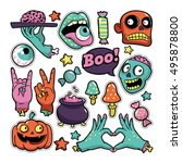 halloween set of patches with... | Shutterstock .eps vector #495878800