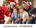 portrait of loving family in... | Shutterstock . vector #495884848
