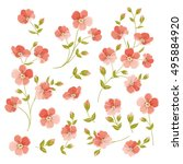 Set Of Linen Flowers Elements....