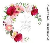 luxury floral vector round... | Shutterstock .eps vector #495885940