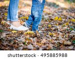 first steps baby. mom helps son ...   Shutterstock . vector #495885988