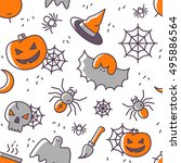 halloween seamless pattern with ... | Shutterstock .eps vector #495886564