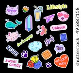 fashion patch badges with... | Shutterstock .eps vector #495887158