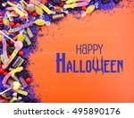 bright colorful candy on orange ... | Shutterstock . vector #495890176