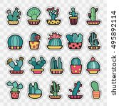 set of fashion patch badges... | Shutterstock .eps vector #495892114