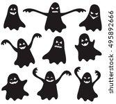 set of black halloween ghosts...   Shutterstock .eps vector #495892666