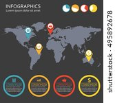 world map infographics template ... | Shutterstock .eps vector #495892678