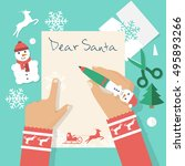Dear Santa Letter. Girl Writing ...