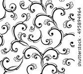 seamless baroque leaves black... | Shutterstock .eps vector #495894964