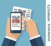 scanning qr code on mobile... | Shutterstock .eps vector #495895273