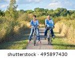 senior couple riding bikes      ... | Shutterstock . vector #495897430