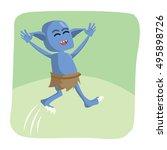 blue monster jumping vector... | Shutterstock .eps vector #495898726