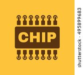 the chip icon. microchip and... | Shutterstock . vector #495899683