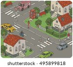 vector hand drawn isometric... | Shutterstock .eps vector #495899818