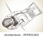 sketch of designer working on... | Shutterstock .eps vector #495901303