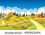 countryside landscape with... | Shutterstock . vector #495902494
