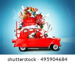 santa claus with reindeer in a... | Shutterstock . vector #495904684