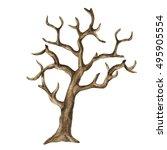 Watercolor Dry  Bare Tree ...