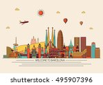 barcelona skyline detailed... | Shutterstock .eps vector #495907396