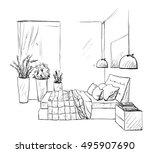 bedroom modern interior sketch. ... | Shutterstock .eps vector #495907690