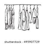 hand drawn wardrobe sketch.... | Shutterstock .eps vector #495907729