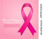 breast cancer awareness symbol. ... | Shutterstock .eps vector #495913324