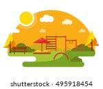 kids autumn playground vector... | Shutterstock .eps vector #495918454